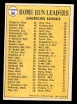 1970 Topps #66   -  Reggie Jackson / Harmon Killebrew / Frank Howard AL HR Leaders Back Thumbnail