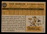 1960 Topps #542  Ken Hamlin  Back Thumbnail