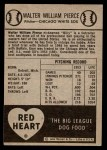 1954 Red Heart  Billy Pierce  Back Thumbnail