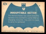 1966 Topps Batman Blue Bat Back #42 BLU  Inhospitable Hatter! Back Thumbnail