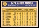 1970 Topps #613  Dave Baldwin  Back Thumbnail