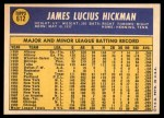 1970 Topps #612  Jim Hickman  Back Thumbnail