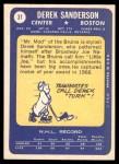 1969 Topps #31  Derek Sanderson  Back Thumbnail