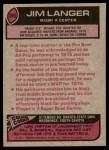 1977 Topps #390  Jim Langer  Back Thumbnail
