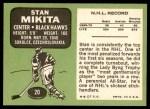 1970 Topps #20  Stan Mikita  Back Thumbnail