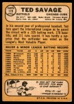 1968 Topps #119  Ted Savage  Back Thumbnail