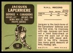 1970 Topps #52  Jacques Laperriere  Back Thumbnail