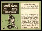 1970 Topps #25  Pete Stemkowski  Back Thumbnail