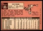 1969 Topps #192  Jose Pagan  Back Thumbnail