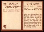 1967 Philadelphia #112  Allen Jacobs  Back Thumbnail