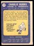 1969 Topps #129  Charlie Burns  Back Thumbnail