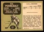 1970 Topps #131  Gilbert Perreault  Back Thumbnail