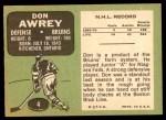 1970 Topps #4  Don Awrey  Back Thumbnail