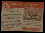 1953 Topps World on Wheels #4   Buick Toy Tonneau 1910 Back Thumbnail
