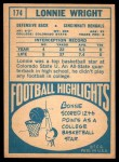 1968 Topps #174  Lonnie Wright  Back Thumbnail