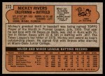 1972 Topps #272  Mickey Rivers  Back Thumbnail
