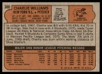 1972 Topps #388  Charlie Williams  Back Thumbnail