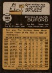 1973 Topps #183  Don Buford  Back Thumbnail