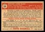 1952 Topps #144 CRM Ed Blake  Back Thumbnail