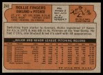 1972 Topps #241  Rollie Fingers  Back Thumbnail