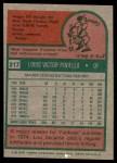 1975 Topps #217  Lou Piniella  Back Thumbnail