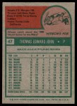 1975 Topps #47  Tommy John  Back Thumbnail
