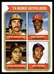 1974 Topps #598   -  Ken Griffey / Dave Augustine / Steve Ontiveros / Jim Tyrone Rookie Outfielders    Front Thumbnail