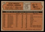 1972 Topps #276  Gene Mauch  Back Thumbnail