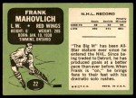 1970 Topps #22  Frank Mahovlich  Back Thumbnail