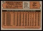 1972 Topps #309  Roberto Clemente  Back Thumbnail
