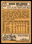 1968 Topps #118  Mark Belanger  Back Thumbnail