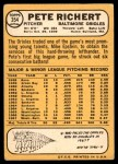 1968 Topps #354  Pete Richert  Back Thumbnail