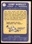 1969 Topps #1  Gump Worsley  Back Thumbnail