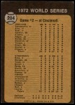 1973 Topps #204  Johnny Bench / Tony Perez / Mike Hegan / Dick Green 1972 World Series - Game #2 - A's Make it Two Straight Back Thumbnail