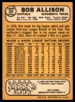 1968 Topps #335  Bob Allison  Back Thumbnail