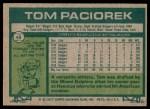 1977 Topps #48  Tom Paciorek  Back Thumbnail