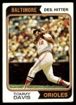 1974 Topps #396  Tommy Davis  Front Thumbnail