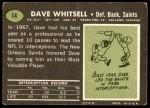 1969 Topps #14  Dave Whitsell  Back Thumbnail