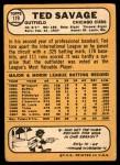 1968 Topps #119  Ted Savage  Back Thumbnail