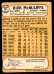 1968 Topps #285  Dick McAuliffe  Back Thumbnail