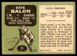 1970 Topps #61  Dave Balon  Back Thumbnail