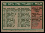 1975 Topps #611   -  Bill Virdon Yankees Team Checklist Back Thumbnail
