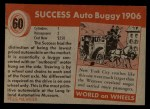 1954 Topps World on Wheels #60   Success Auto Buggy 1906 Back Thumbnail