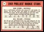 1969 Topps #576   -   Ron Stone / Bill Wilson Phillies Rookies Back Thumbnail