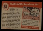 1954 Topps World on Wheels #68   Oakland Roadster 1911 Back Thumbnail