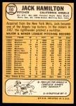 1968 Topps #193  Jack Hamilton  Back Thumbnail