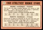 1969 Topps #358   -  George Lauzerique / Roberto Rodriguez A's Rookies   Back Thumbnail