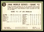 1967 Topps #152   -  Jim Palmer 1966 World Series - Game #2 - Palmer Blanks Dodgers Back Thumbnail