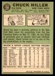 1967 Topps #198  Chuck Hiller  Back Thumbnail