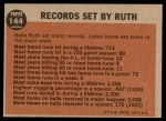 1962 Topps #144 NRM  -  Babe Ruth Farewell Speech Back Thumbnail